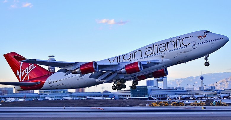 Virgin Atlantic aircraft at takeoff